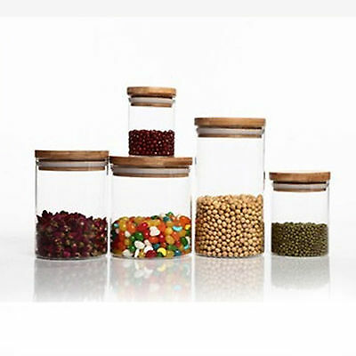 Kitchen Glass Jar Canister Food Storage Container Tea Coffee Snacks