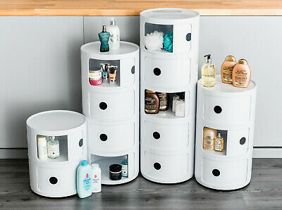 2 Tier Bedroom Office Storage Cabinet Round Abs Plastic Towel Unit Bathroom New
