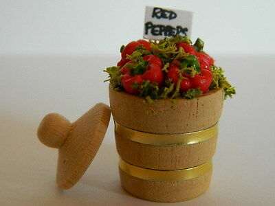 (F1-20) Dolls House Handmade Wooden Bucket Of Red Peppers