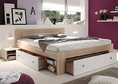 bett michigan jugendbett g stebett sonoma eiche 140x200 cm mit schubk sten eur 128 00. Black Bedroom Furniture Sets. Home Design Ideas