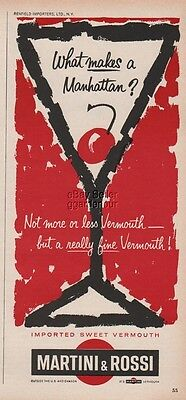 1963 Martini & Rossi Vermouth Manhattan Cocktail Vintage 60s Bar Decor Print Ad