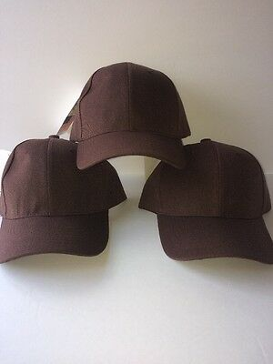 3 LOT PRO BASEBALL CAP SOLID BROWN ADJUSTABLE NEW Free Shipping USA Seller
