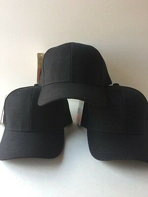 3 LOT PRO BASEBALL CAP SOLID BLACK ADJUSTABLE NEW Free Shipping USA Seller