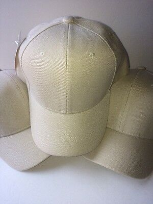 3 LOT PRO BASEBALL CAP SOLID BEIGE ADJUSTABLE NEW Free Shipping USA Seller