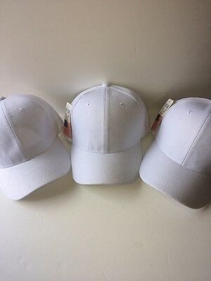 3 LOT PRO BASEBALL CAP SOLID WHITE ADJUSTABLE NEW Free Shipping USA Seller