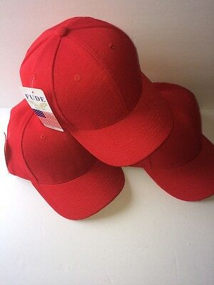 3 LOT PRO BASEBALL CAP SOLID RED ADJUSTABLE NEW Free Shipping USA Seller