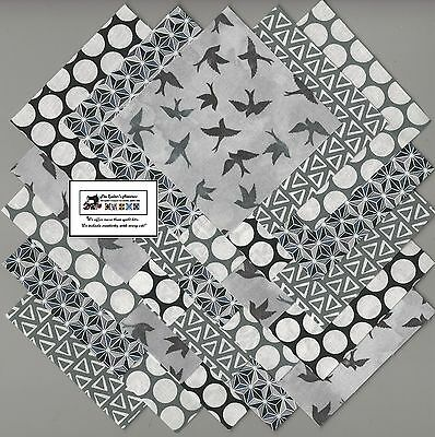 "25~5"" Gray & Black Bird Fabric Squares/Quilt/Craft/Sewing/Charm Packs #5894"