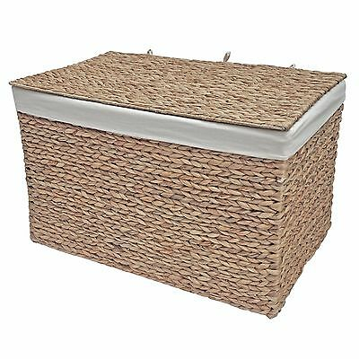 Large Wicker Storage Trunk, Cotton Lined Chest, Laundry Toys Bedroom Bathroom