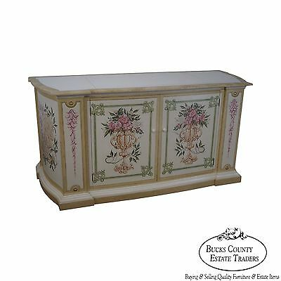 Custom Crafted Hand Painted Venetian Style Mechanical TV Lift Cabinet