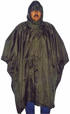 Military Rain Poncho Olive Drab Camo Nylon Ripstop With Carry Bag Govern Specs