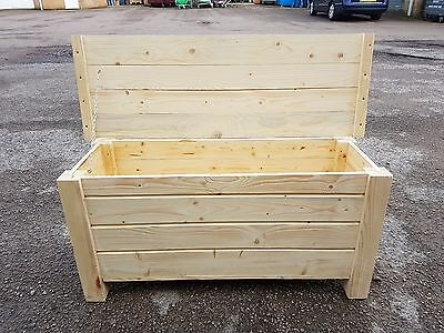 Extra Large Wooden Trunk 100 cm Long of Solid Wood Spruce Unpainted