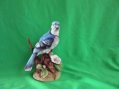 Mid Century Modern Stefani Bisque Porcelain Bird Blue Jay on Stump w Flowers