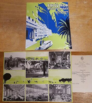 1937 Excelsior Bellevue Palace San Remo flyer camp Golf Speisekarte Grand Hotel