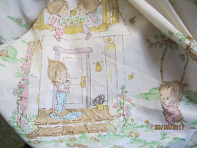 Vintage Bed Sheet Betsey Clark Full Fitted Waifs Print 1980's HTF