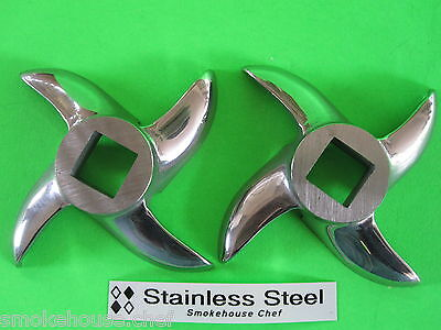 TWO knife blades for STX TURBOFORCE 2000 3000 4000 SERIES Electric Meat Grinder