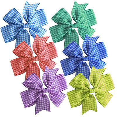 2 x Gingham Check Bow Hair Clips Girls School Uniform Bows Slides
