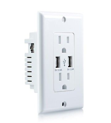 ORA Dual 2.4a 2-Port Rapid Charging USB Wall Outlet & Conventional Wall Socket