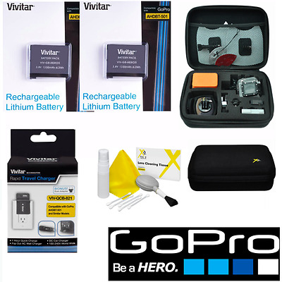 Battery for GoPro HD Hero5 BLACK X2 AABAT-001 FAST CHARGER + HARD CASE + CL KIT