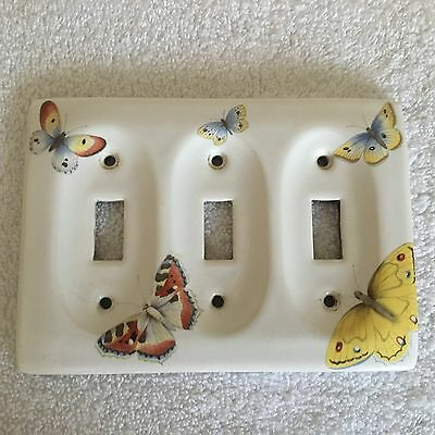 Vintage Porcelain Butterfly 3 Switch Light Cover Plate