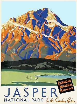Jasper National Park Canadian Rockies Canada Travel Advertisement Poster