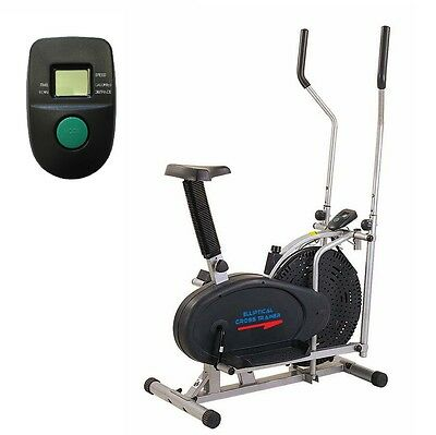 2 In 1 Elliptical Cross Trainer & Exercise Bike Cardio Workout Home Mini Gym