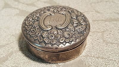 Gorham sterling silver snuff box #878 FCC Monogram