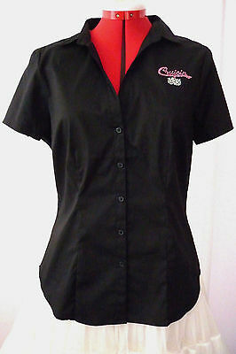 Rock N Roll/rockabilly Black Shirt For Poodle Skirt Cotton & Elastane Size Sz 16