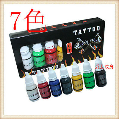 7 Color Ink Set 15ml Premium Tattoo Bottled Pigment Paint Supplies For Needles