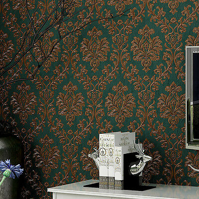 "Vintage Green/Bronze Damask Flocking Wallpaper Roll Home wall decor 20.8""x393.7"""