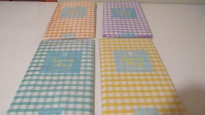 Vinyl Tablecloth Flannel Back Gingham Check Plaid 4 Colors Spring Summer NEW