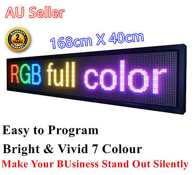 Outdoor 7 Colour Programmable LED Message Sign Bright Strong Amazing 168X 40cm