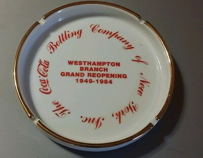 "Rare  Coca Cola Co.New York Westhampton Branch Large Porcelain Ashtray 6 3/4"" r"