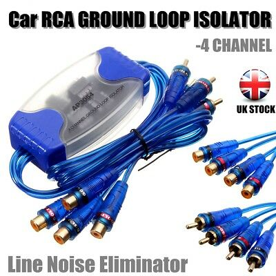 4 CHANNEL RCA GROUND LOOP ISOLATOR LINE Sound Eliminator REMOVE NOISE FILTER -UK