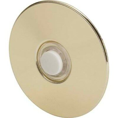"""Everyday Round Door Bell Chime Button, Size: 2-1/2"""", Brass"""