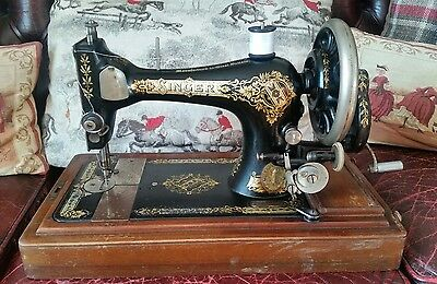Antique Singer Sewing Machine Coffin Case + Accessories WORKING CONDITION