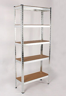 Silver Metal 4 Bay Garage Shelving Unit Heavy Duty 5 Tier Shelf Steel Racking