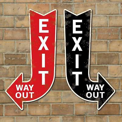 Vintage Style Exit Way Out Arrow, Exit Arrow Sign, Way Out Sign, Old Effect Sign