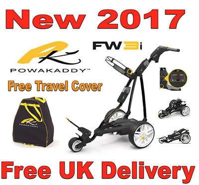 New 2017 Powakaddy FW3i Black Electric Golf Trolley & 18 Hole Battery & Charger