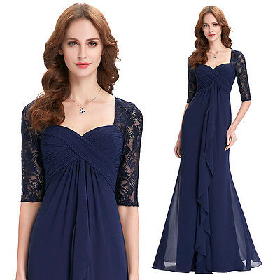 UK Women Lace Chiffon Elegant Formal Evening Ball Gown Wedding Party Prom Dress