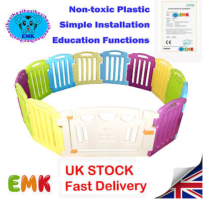 12+2 Panel Large Foldable Plastic Baby Mixed Color PlayPen & Education Functions