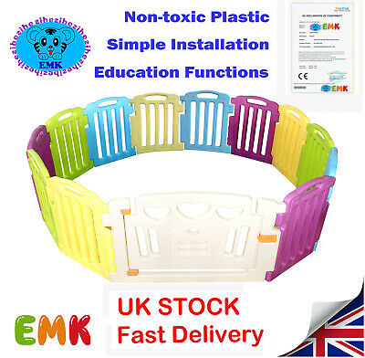 12+2Panel Large Foldable Plastic Baby Mixed Colors PlayPen & Education Functions