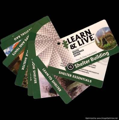 Live & Learn Cards, Survival cards,Shelter Building,Bug out Bag,Survival Fishing