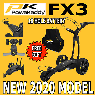 New 2017 Powakaddy FW3i Black Electric Golf Trolley & 18 Lithium Battery