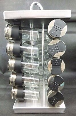 Spice Rack 20 Containers Stainless Steel and Black design