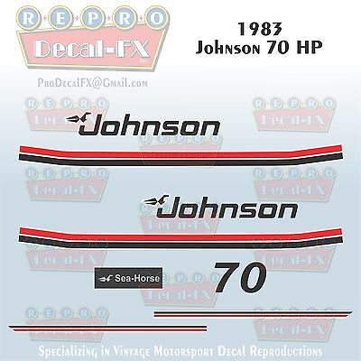 1977 Johnson 115 HP V4 Seahorse Outboard Reproduction 15 Pc Marine Vinyl Decals