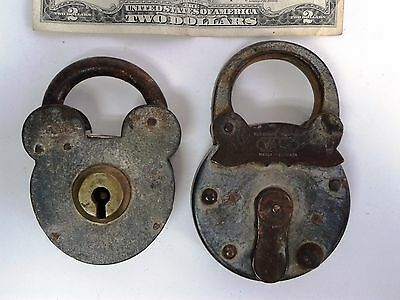 2 Rare antique large padlock 1 YALE 1 Mickey Mouse head shaped Germany jail?