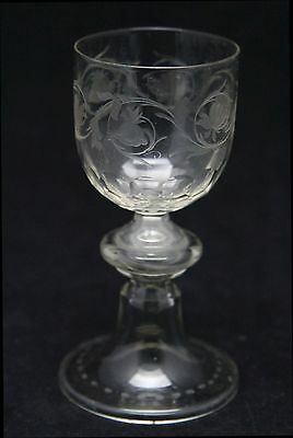 antique early 18th C crystal Port or Wine Glass, engraved flowers, domed foot