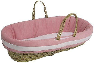 Baby Doll Bedding Suede Hotel Moses Basket Set, Pink/White