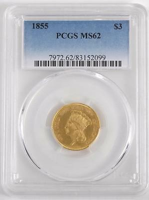 1855 $3 Princess Gold Coin Pcgs Ms62 Uncommon Date
