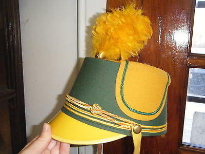 VTG 1950s MARCHING BAND UNIFORM HAT WITH YELLOW FEATHERS SOCIETY BRAND HAT CO